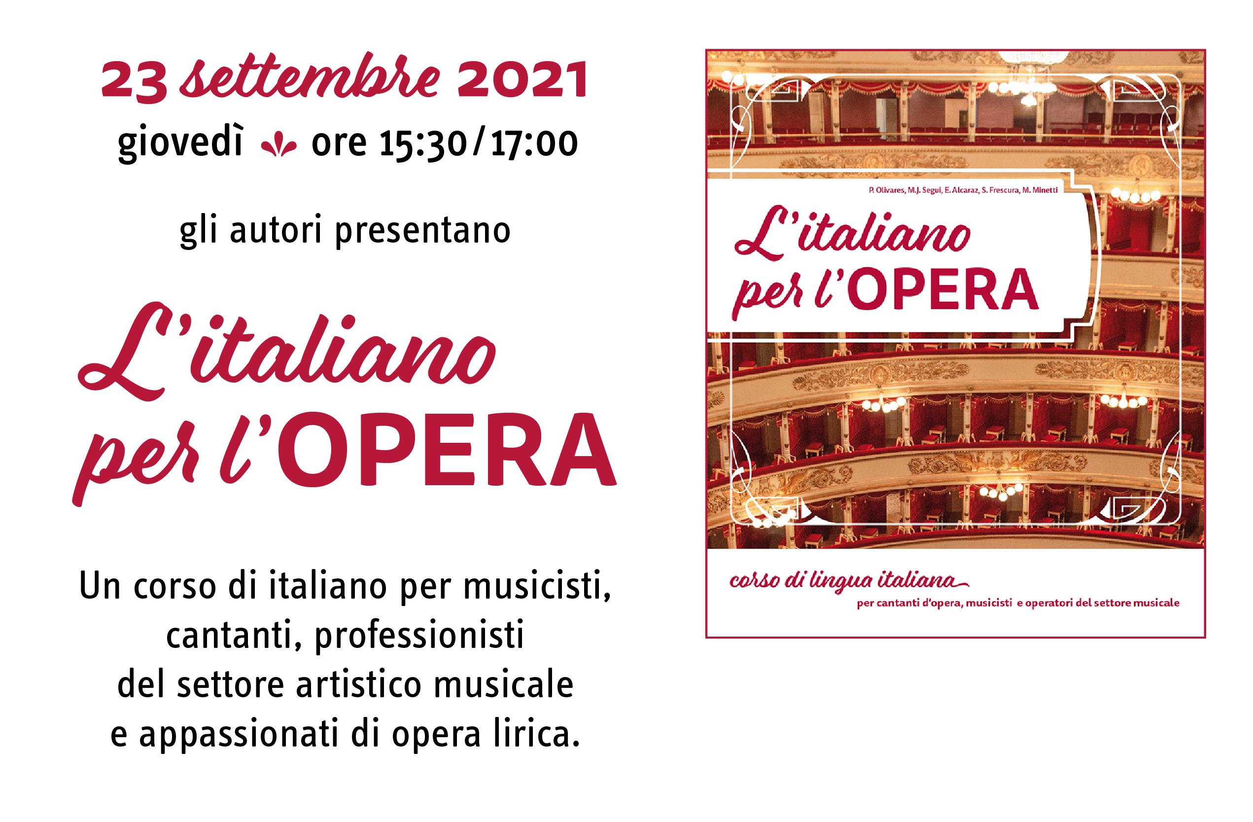 Evento online L'ITALIANO PER L'OPERA - 23 settembre 2021