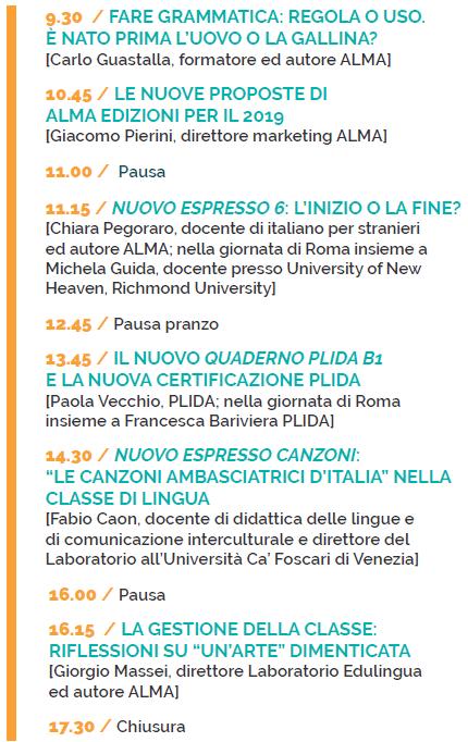 Programma Giornata ALMA Milano 25 maggio 2019